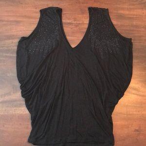 Tops - SALE🌸3/$20 NWOT Embellished Black Draped Top